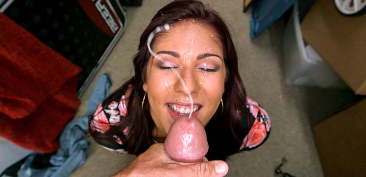 cum flying on her face