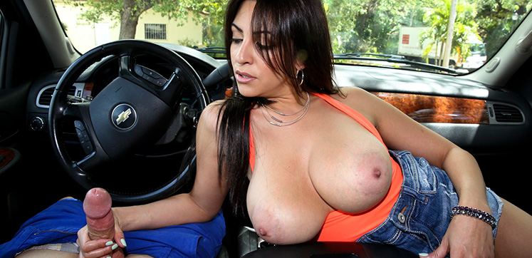 bangbros Handjobs Handjob in the car with Big tits
